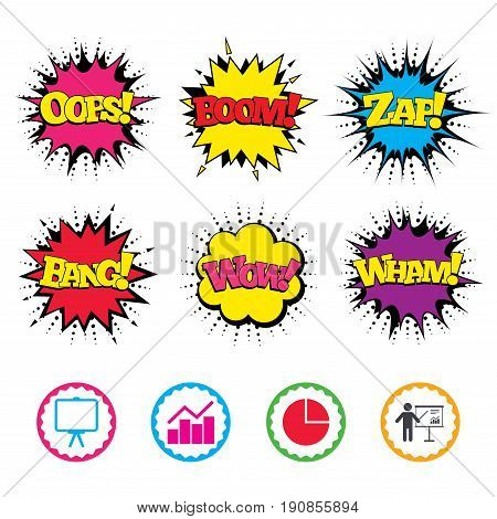 Comic Wow, Oops, Boom and Wham sound effects. Diagram graph Pie chart icon. Presentation billboard symbol. Man standing with pointer sign. Zap speech bubbles in pop art. Vector