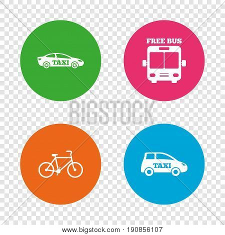 Public transport icons. Free bus, bicycle and taxi signs. Car transport symbol. Round buttons on transparent background. Vector