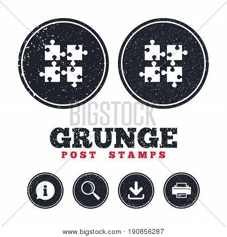 Grunge post stamps. Puzzles pieces sign icon. Strategy symbol. Ingenuity test game. Information, download and printer signs. Aged texture web buttons. Vector