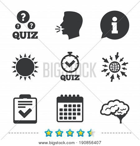 Quiz icons. Human brain think. Checklist and stopwatch timer symbol. Survey poll or questionnaire feedback form sign. Information, go to web and calendar icons. Sun and loud speak symbol. Vector
