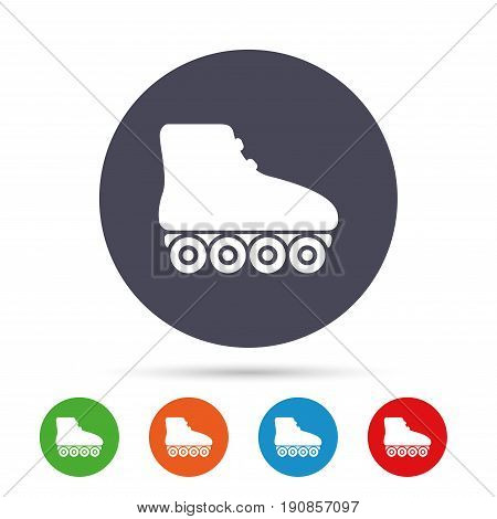 Roller skates sign icon. Rollerblades symbol. Round colourful buttons with flat icons. Vector