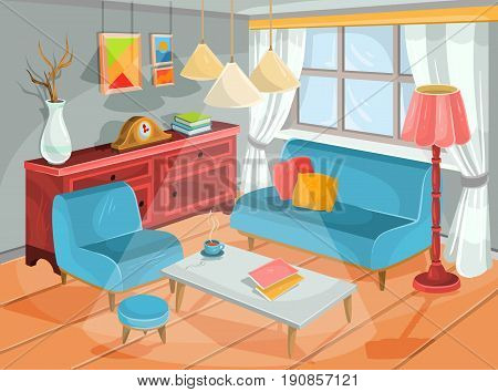 Vector illustration of a cozy cartoon interior of a home room, a living room with a soft armchair, padded stool, sofa, coffee table, chest of drawers and an electric lamp