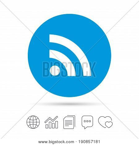 RSS sign icon. RSS feed symbol. Copy files, chat speech bubble and chart web icons. Vector