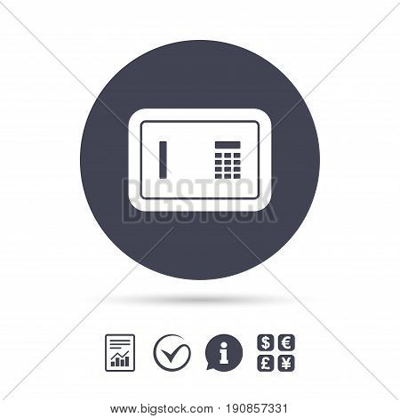 Safe sign icon. Deposit lock symbol. Protection for your documents in hotel. Report document, information and check tick icons. Currency exchange. Vector