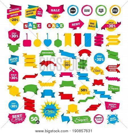 Web banners and labels. Special offer tags. Sale icons. Special offer speech bubbles symbols. Buy now arrow shopping signs. Available now. Discount stickers. Vector