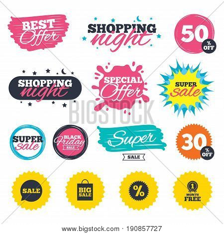 Sale shopping banners. Special offer splash. Sale speech bubble icon. Discount star symbol. Big sale shopping bag sign. First month free medal. Web badges and stickers. Best offer. Vector