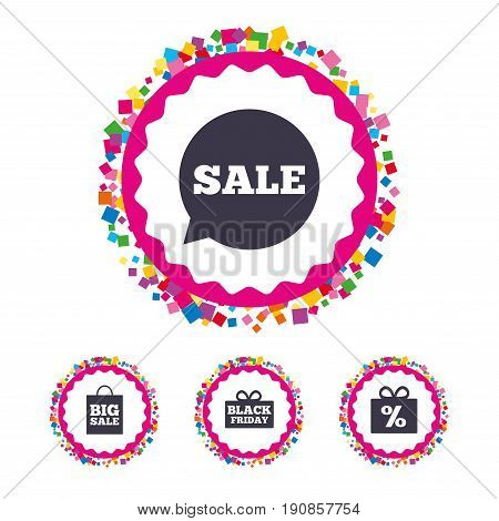 Web buttons with confetti pieces. Sale speech bubble icon. Black friday gift box symbol. Big sale shopping bag. Discount percent sign. Bright stylish design. Vector