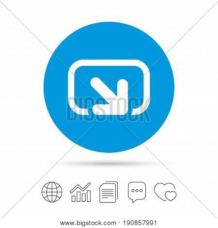 Action sign icon. Share symbol. Copy files, chat speech bubble and chart web icons. Vector