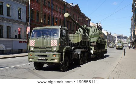 St.Petersburg, Russia - 9 May 2017. Celebration of Victory Day: Tank transportation