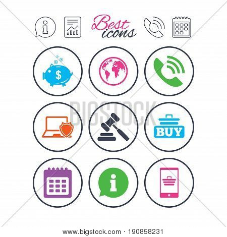 Information, report and calendar signs. Online shopping, e-commerce and business icons. Auction, phone call and information signs. Piggy bank, calendar and smartphone symbols. Phone call symbol