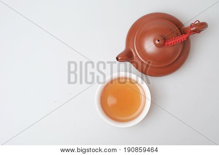 Isolated Topview Tea Pot And Tea Cup