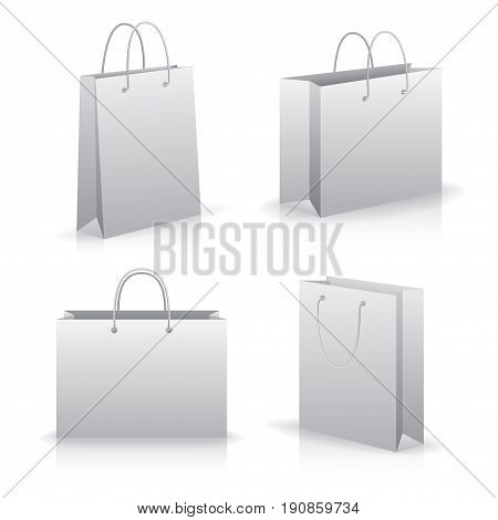 Modern Flat Icons Set with four pockets or bags of different sizes vector illustration