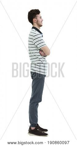 Young man standing sideways isolated on white background