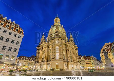 Dresden Frauenkirche (church Of Our Lady) At Night, Dresden, Germany
