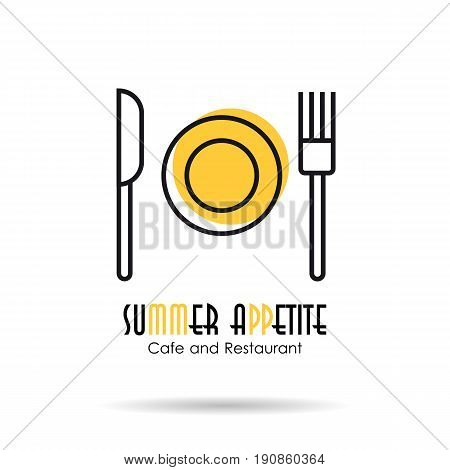 Vector linear logo illustration of plate, fork and knife. Concept of cafe, dining room or restaurant. Summer appetite two colored slogan isolated on white background