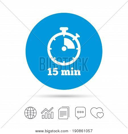 Timer sign icon. 15 minutes stopwatch symbol. Copy files, chat speech bubble and chart web icons. Vector