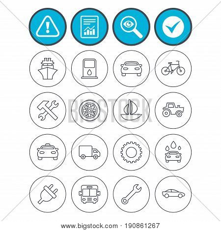 Report, check tick and attention signs. Transport and services icons. Ship, car and public bus, taxi. Repair hammer and wrench key, wheel and cogwheel. Sailboat and bicycle. Vector