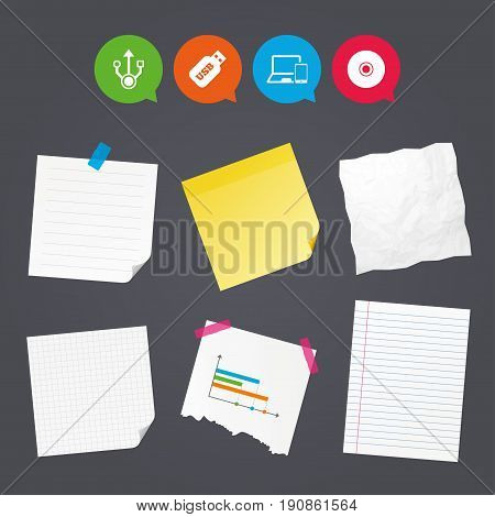 Business paper banners with notes. Usb flash drive icons. Notebook or Laptop pc symbols. Smartphone device. CD or DVD sign. Compact disc. Sticky colorful tape. Speech bubbles with icons. Vector