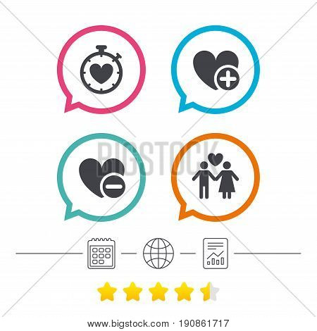 Valentine day love icons. Love heart timer symbol. Couple lovers sign. Add new love relationship. Calendar, internet globe and report linear icons. Star vote ranking. Vector