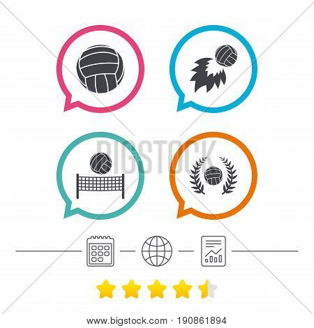 Volleyball and net icons. Winner award laurel wreath symbols. Fireball and beach sport symbol. Calendar, internet globe and report linear icons. Star vote ranking. Vector