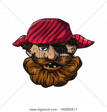Funny bearded pirate with eye patch. Cartoon character isolated on white. Vector illustration based on hand drawn art. Great choice for mascot, pirate party invitation or book illustration.
