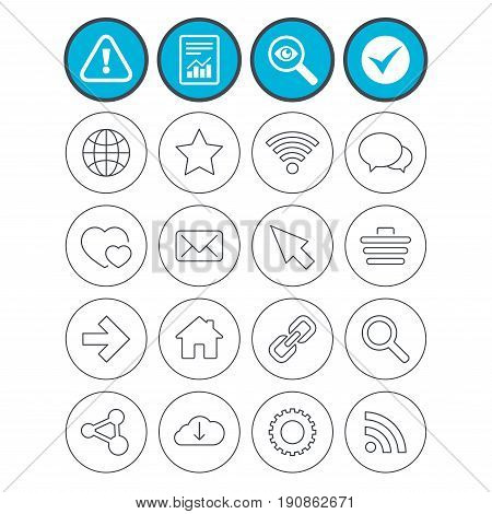 Report, check tick and attention signs. Internet and Web icons. Wi-fi network, favorite star and internet globe. Hearts, shopping cart and speech bubbles. Share, rss and link symbols. Vector