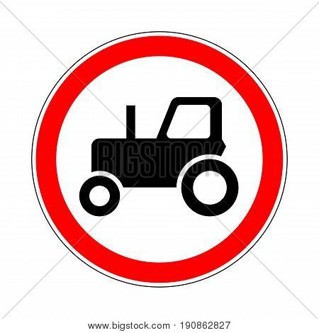 Illustration of Road Prohibitory Sign No Tractors. Illustration on White