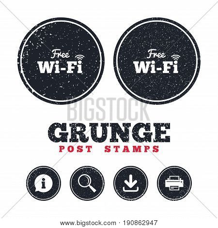 Grunge post stamps. Free wifi sign. Wifi symbol. Wireless Network icon. Wifi zone. Information, download and printer signs. Aged texture web buttons. Vector