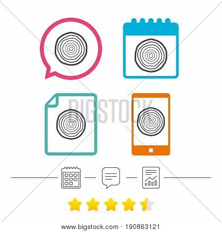 Wood sign icon. Tree growth rings. Tree trunk cross-section. Calendar, chat speech bubble and report linear icons. Star vote ranking. Vector