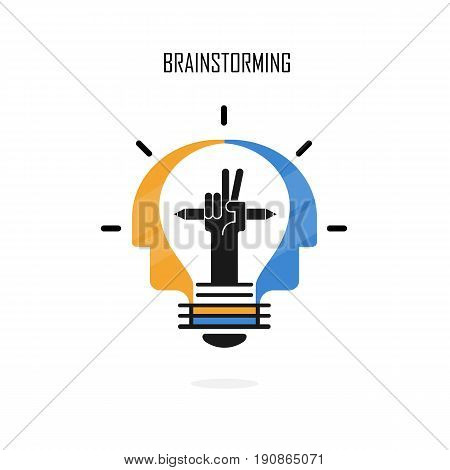 Creative light bulbpencils and Human heads vector logo design.Brainstormingteamwork and Partnership concept.Business and industrial creative logotype symbol.Vector flat design illustration