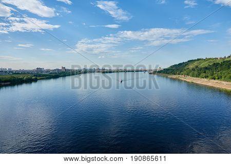 River cruise on pleasure boat Russia Nizhny Novgorod Oka.