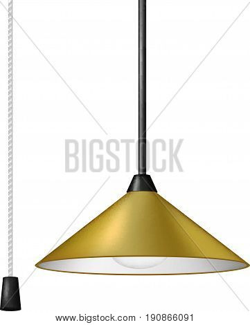 Retro hanging lamp in brown design with black and white cord switch on white background