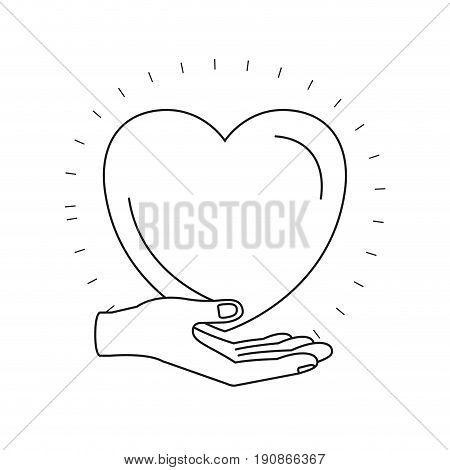 silhouette hand palm giving a heart charity symbol vector illustration