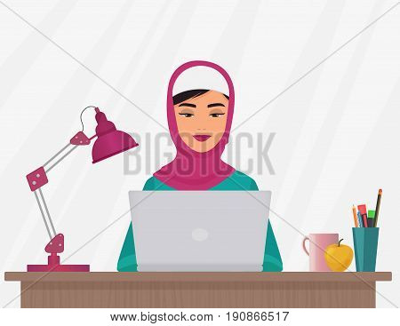 Muslim business pretty woman in traditional clothing working on laptop. Arabian female Vector illustration