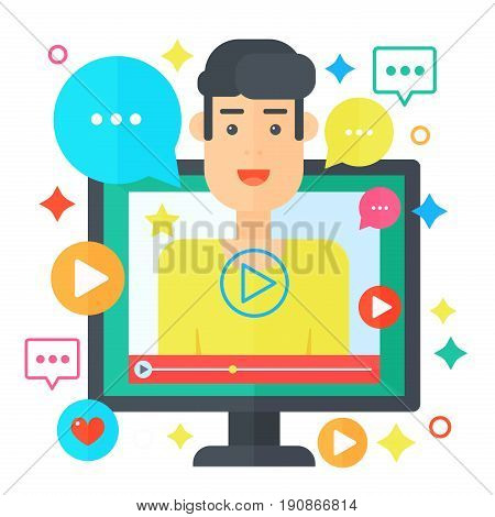 Video blogger concept. Computer screen with man blogger. Personal channel broadcasting flat vector illustration
