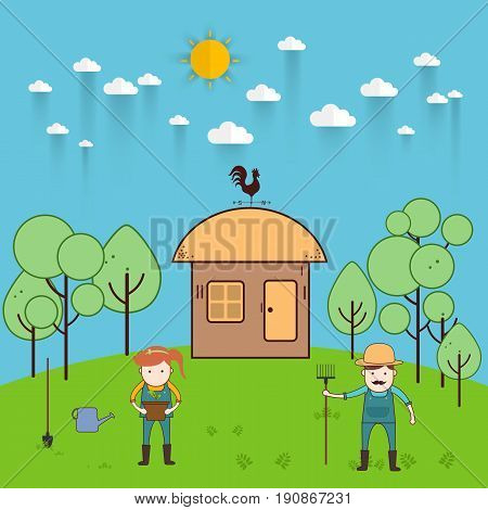 Farmer man and woman farming and landscape Vector illustration