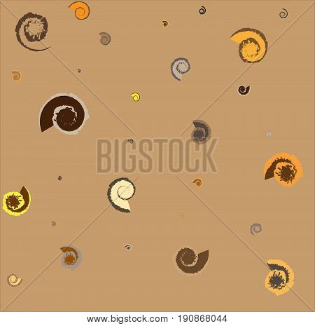 Fossils and shells patterned background (brown tone)