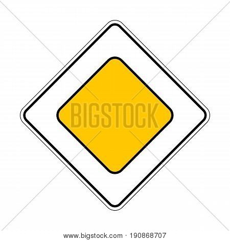 Illustration of Traffic Yellow Roadsign Priority Main Road