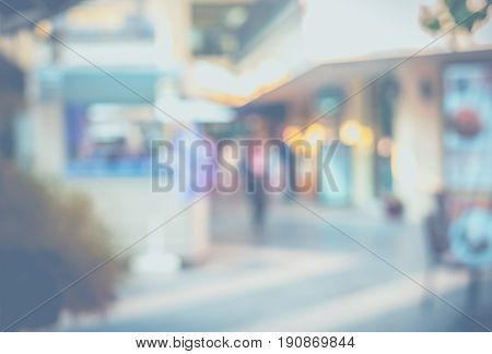 Blurred Background : People Shopping At Market Fair In Sunny Day, Blur Background With Bokeh,pale Fi