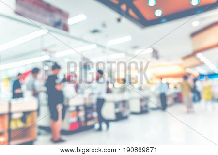 Blurred Background : Supermarket Store Blur ,cashier Counter With Customer