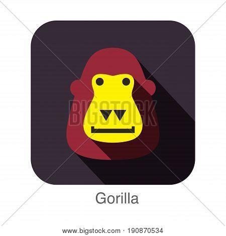 Gorilla Face Flat Icon Design. Animal Icons Series.
