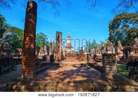 Wat Chedi Jet Thaew at Si Satchanalai Historical Park, a UNESCO World Heritage Site in Thailand poster
