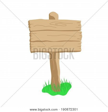 Square shape blank cartoon style vector wooden sign board isolated on white background