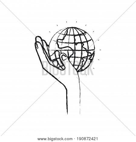 blurred silhouette left hand holding in palm a earth globe world charity symbol vector illustration