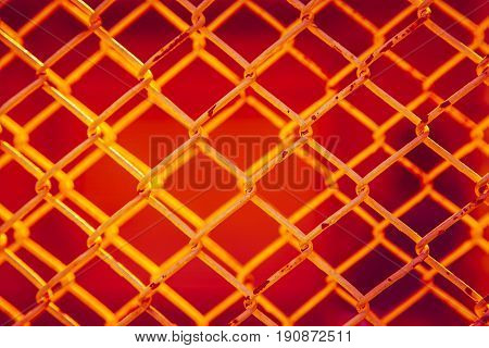 Red Steel For Background, Hot Heat Iron Steel Metal Fence Or Steel Wire Cage.