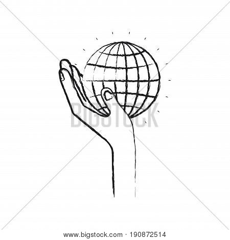 blurred silhouette left hand holding in palm a globe chart vector illustration