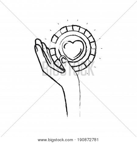 blurred silhouette left hand holding in palm a coin with heart shape inside charity symbol vector illustration
