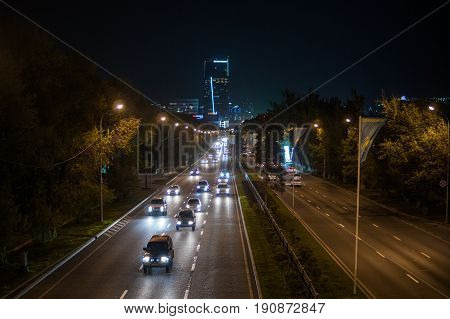 Almaty, Kazakhstan - May 6: Almaty City Night View, Al-farabi Avenue. Light Trails At Night On The R
