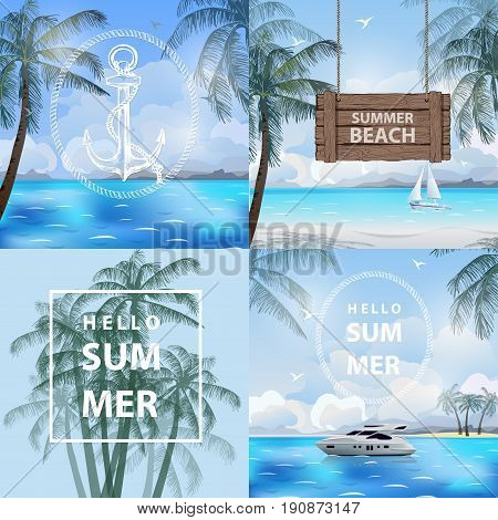 Set of banners summer, sea, travel.Summer holidays vector illustration. Beach, beautiful sailboat, pleasure boat, palm trees beautiful panoramic sea view, with clean water blue sky. Template Vector.