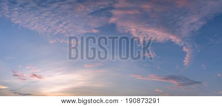 Panorama of dramatic sky during sunset backgrounds